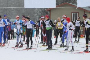 Racers wait for the start of Glacier Nordic Club's annual Glacier Glide Freestyle Race
